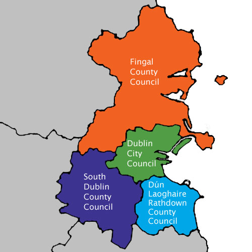 Map shows Dublin Councils